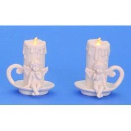 Anděl se svíčkou LED 9,5cm mix