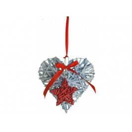 Dekorace srdce závěs 20x20x5cm