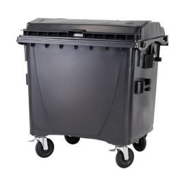 Plastový kontejner s kulatým víkem 1100 l - černý