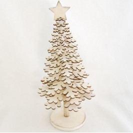 IMA DEKOR Dřevěný vánoční stromeček krémový 36cm IDAD156934B