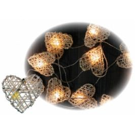 Anděl Přerov LED osvětlení srdíčka z ratanu 16 světel řetěz 3m AP11037