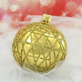 Slezská tvorba Skleněná koule   zlatá   lesk   plastový dekor Velikosti: 10cm - 6 ks