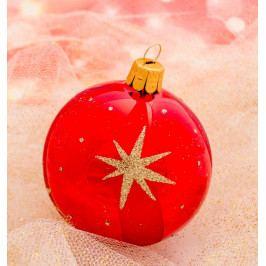 Slezská tvorba Skleněná koule | červený lak | zlaté hvězdy Velikosti: 10cm - 6 ks