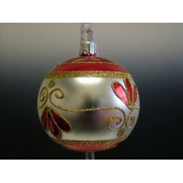 Slezská tvorba Skleněná koule   stříbrná   malovaná   retro Velikosti: 8cm - 6 ks ST1124G998080030/01206-79318