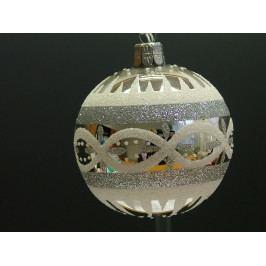 Slezská tvorba Skleněná koule | stříbrná | retro | bílé detaily ST1121T010070030/00213-76437