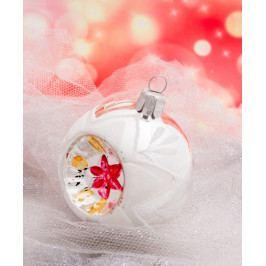 Slezská tvorba Skleněná koule   stříbrná   dekor   retro Velikosti: 7cm - 6 ks ST14215061070030/00244-22724