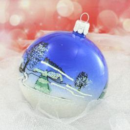 Slezská tvorba Skleněná koule   porcelánový lak   krajinka s domy a stromy Velikosti: 8cm - 6 ks ST1124C458080030/00120-66669