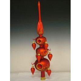 Slezská tvorba Skleněná špice s olivkami | červený mat | zlatý dekor Velikosti: 7cm ST5624KL03070010