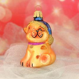 Slezská tvorba Skleněná figurka | pes s čepicí | zlatý Balení obsahuje: 6 kusů ST35246645000041/00395-26094
