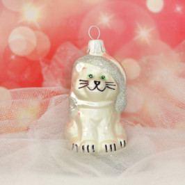 Slezská tvorba Skleněná figurka | kočka s čepicí | bílý mat Balení obsahuje: 6 kusů ST35247230000041/00321-26495
