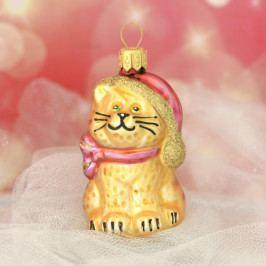 Slezská tvorba Skleněná figurka | kočka s čepicí | zlatý mat Balení obsahuje: 6 kusů ST35246641000041/00342-26077