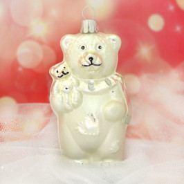 Slezská tvorba Skleněná figurka | medvěd s malým medvídkem | bílý mat Balení obsahuje: 6 kusů ST35247351000041/00400-26573