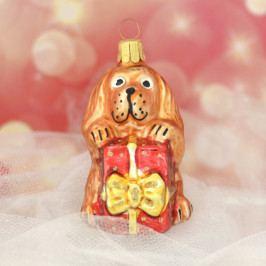 Slezská tvorba Skleněná figurka   pes s dárkem Balení obsahuje: 6 kusů