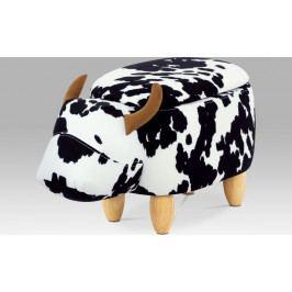 Taburet kráva s úložným prostorem, látka, masiv