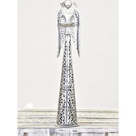Harasim Plechový anděl s krajkou a kalíškem na svíčku 39 cm