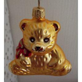 Slezská tvorba Skleněná figurka | medvěd sedící s mašlí | zlatý mat Balení obsahuje: 6 kusů ST35246274000041/6 K