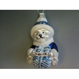 Slezská tvorba Skleněná figurka | medvěd s dárkem | modrý Balení obsahuje: 6 kusů