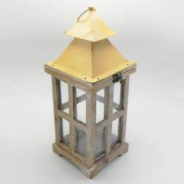 KLIA Lucerna dřevo sklo hnědá 17x17x43cm KAF17-12A066/S