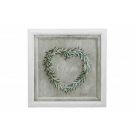 Ego Dekor Obraz   srdce z bobkového listu   bílý rám EDZOB-QA3221-B