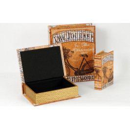 Autronic Krabička ve tvaru knihy | dřevěná | plátno s potiskem | sada 3ks