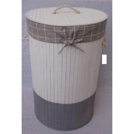 Autronic Koš prádelní z bambusu | kulatý | dvoubarevný | 38x61x38cm AUKD4404