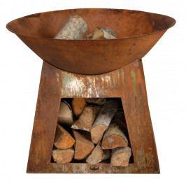 ESSCHERT DESIGN Přenosné ohniště | rezavé | se zásobníkem EDZEE-FF169
