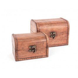 DENK GESCHENKE Truhla | dřevo | hnědá | sada 2 ks | 9x14x9cm | 12x17x13cm DG14201