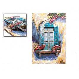 DENK GESCHENKE Nástěnný 3D obraz | modré okno | kov | 90x60x6cm DG14344