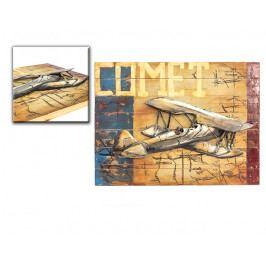 DENK GESCHENKE Nástěnný 3D obraz | letadlo | dřevo | kov | 60x80x5cm DG14343