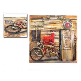 DENK GESCHENKE Nástěnný 3D obraz | benzinová pumpa | dřevo | kov | 100x100x6cm DG14341