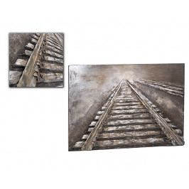 DENK GESCHENKE Nástěnný 3D obraz | koleje | kov | 80x120x5cm DG14931