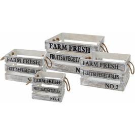 Harasim Dřevěné bedýnky FARM FRESH s/4, bílé s patinou HR116394