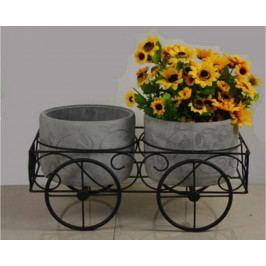 Autronic Stojan na květiny, kovový s betonovými obaly na květiny AUBU4916