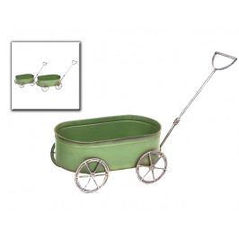 DENK GESCHENKE Kovový vozík na květiny | zelená | sada 2ks