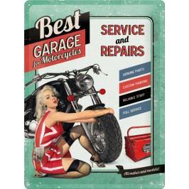 Plechová cedule Best Garage For Motocycles Rozměry: 30x40cm, Barva: šedá
