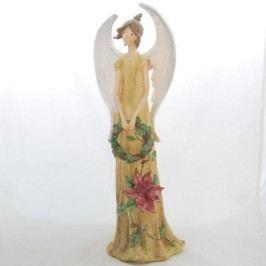 Anděl s cesmínou stojící 40cm S VĚNCEM