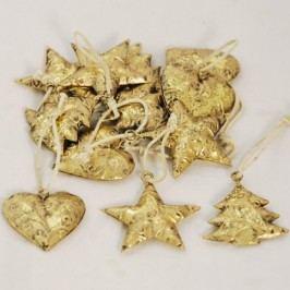 Zlaté kovové vánoční ozdoby 12 kusů
