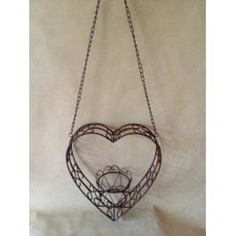 Závěsná kovová dekorace srdce + květ
