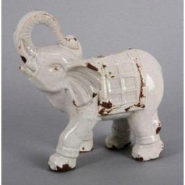 Slon keramický 27x27cm Creme/Antik