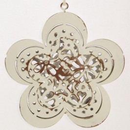 Bílé vyřezávané kovové kytky 6 kusů 8x8 cm
