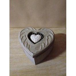 Box na šperky srdce 15x15x7,5cm