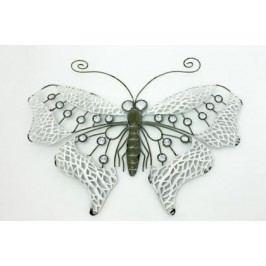 Motýl kov 50x34cm šedo/bílá