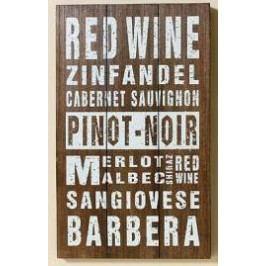 Dřevěná cedule Red wine