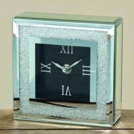 HODINY Skleněné stolní hodiny s glitry 15x15cm