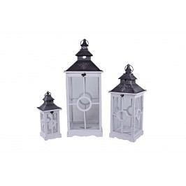 Lucerny s ornamentem bílé set 3ks