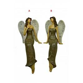 Anděl sedící držící se za srdce 10,5x25x10cm Provedení: B