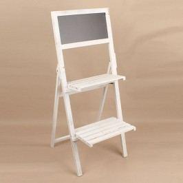 Dřevěný regál s tabulí 2 patra bílý 45x112x40cm