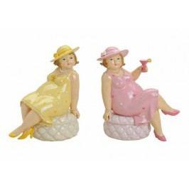 Soška Dáma s kloboukem polyresin 16cm Barva: růžová