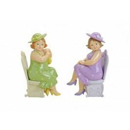 Soška Dáma na židli polyresin 7x9x18cm Barva: fialová