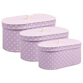Kazeto Krabice oválná fialová s puntíkem sada 3ks